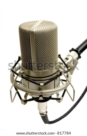 Studio microphone (side view) - stock photo