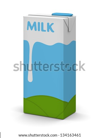 Studio pack shot of a milk carton/box - stock photo