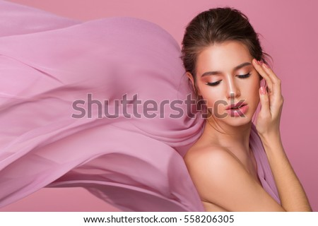 Studio pastel portrait with silk fabric flowing