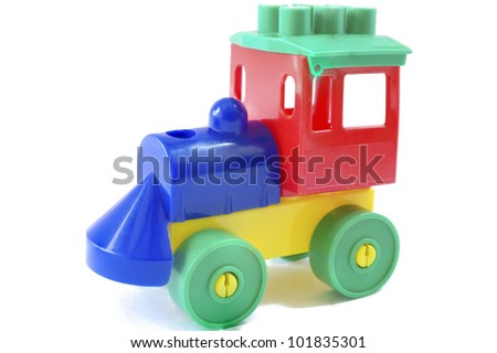 studio photo from a nice wooden toy train - stock photo