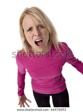 Studio photo of attractive adult woman with look of anger on white background. - stock photo