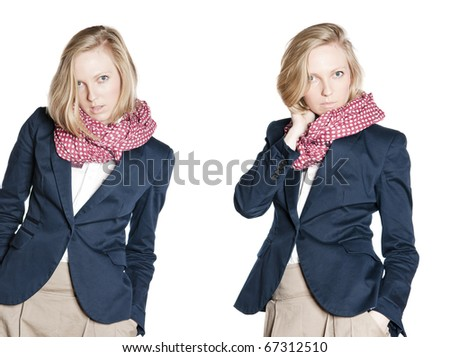 Studio photo of attractive young woman with blonde hair and big eyes.  Isolated over white background.
