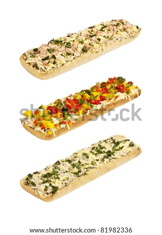 Studio photo of casseroles with cheese and ham isolated on white background.