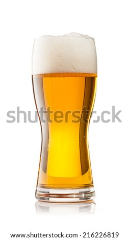 Studio photo of cup of beer isolated on white background - stock photo
