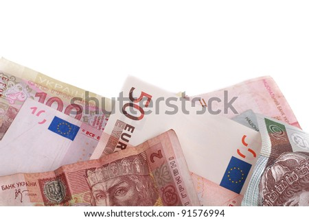studio photo of group banknotes of different countries around the world over white background with some place to put your special text/money of different countries