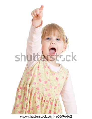 studio photo of little girl pointing you and screaming