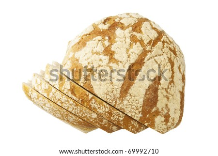 Studio photo of loaf of bread.  Isolated on white background.