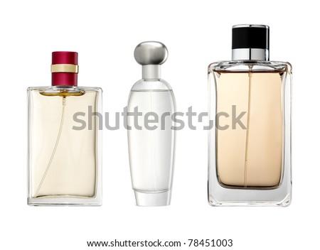 Studio photo of luxury perfume bottle. Isolated on white background - stock photo