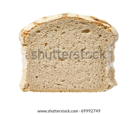 Studio photo of slice of bread. Isolated on white background.