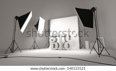 studio photo with softbox and background - stock photo
