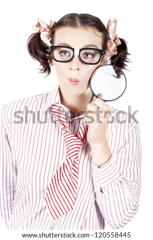 Studio Photograph Of A Business Women Seeking A Solution With Magnifying Glass - stock photo