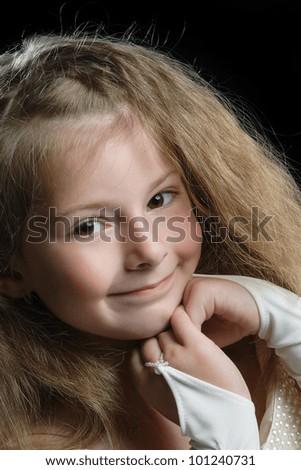 studio photography beautiful little children - stock photo
