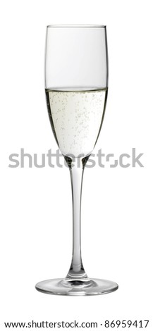 Studio photography of a champagne glass half filled, isolated on white with clipping path - stock photo