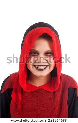 studio photography of a child dressed to enjoy Halloween - stock photo