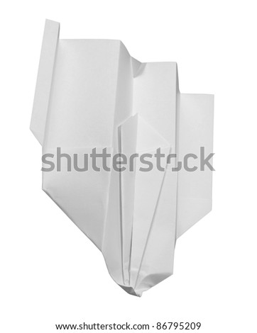 studio photography of a crashed white paper plane isolated on white with clipping path - stock photo