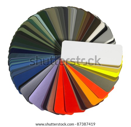 studio photography of a full spread color chart isolated with clipping path - stock photo
