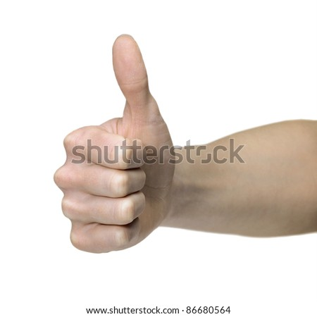 studio photography of a gesture hand in white back