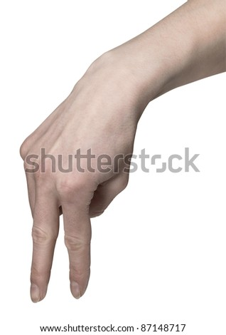 studio photography of a hand while symbolic walking with two fingers in white back