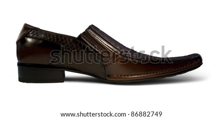 studio photography of a mens shoe in white back - stock photo