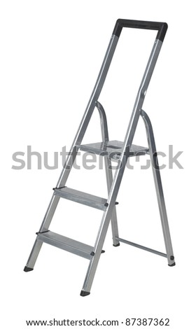 studio photography of a metal ladder isolated on white with clipping path - stock photo