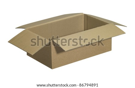 studio photography of a opened clean carton isolated on white, with clipping path