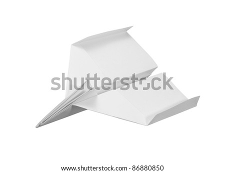 studio photography of a paper plane isolated on white with clipping path - stock photo