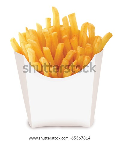 Studio photography of a roasted potatoes french fried chips isolated on white background - stock photo