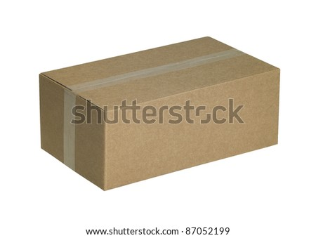studio photography of a sealed brown carton isolated on white, with clipping path - stock photo