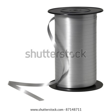 studio photography of a silver strap coil isolated on white, with clipping path - stock photo
