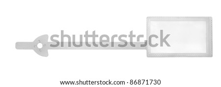 studio photography of a translucent plastic tag in white back - stock photo