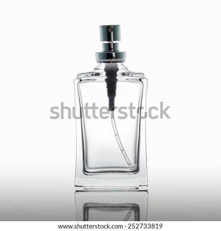 studio photography of transparent bottle  - isolated on white background