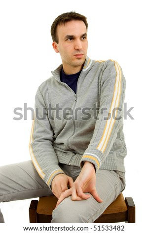 studio picture of a casual young man, isolated on white