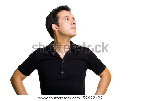 studio picture of a pensive young man, isolated on white - stock photo