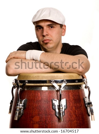 studio picture of a young drummer man - stock photo