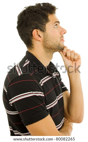 studio picture of a young man thinking, isolated - stock photo