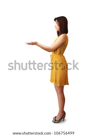 Studio portrait lady with a hand isolated