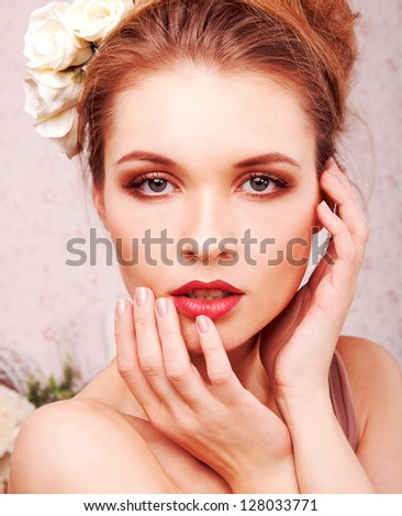 Studio portrait of a beautiful blond girl