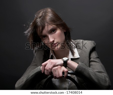 Studio portrait of a business-woman - stock photo