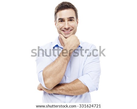 studio portrait of a caucasian corporate executive, hand on chin, isolated on white background.