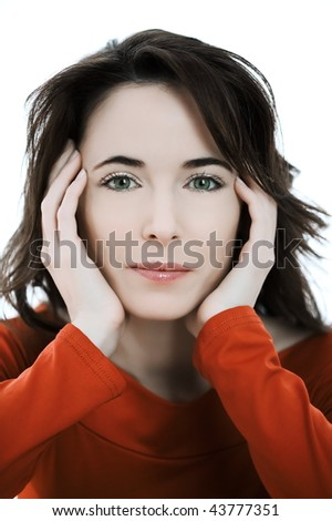 studio portrait of a expressive caucasian beautiful charming woman on white background - stock photo