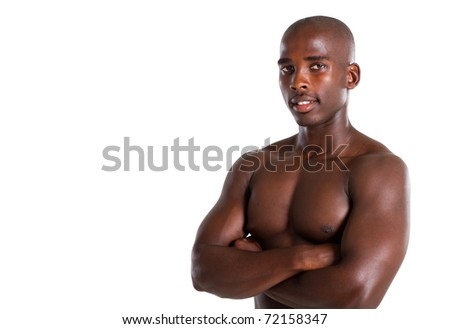studio portrait of a fit young african american man against white background