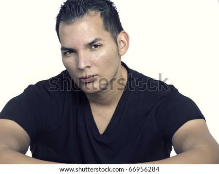 Studio portrait of a handsome man. - stock photo