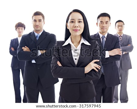 studio portrait of a multinational business team, isolated on white background. - stock photo