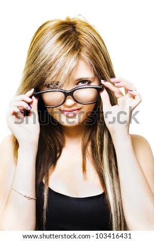 Studio Portrait Of A Sexy Fashionable Girl Looking Over The Top Of Funky Fresh Stylish Glasses, Isolated On White Background - stock photo