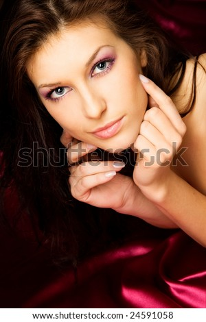 Studio portrait of a sexy young girl - stock photo