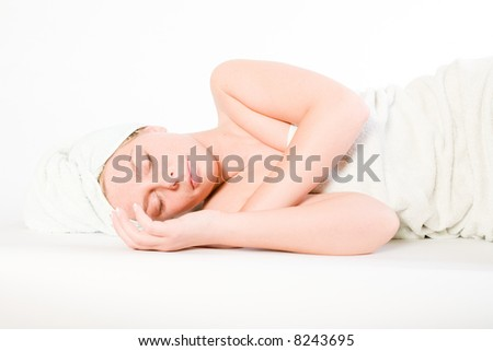 Studio portrait of a spa girl sleeping