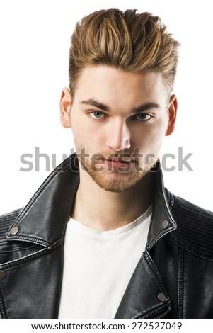 Studio portrait of a young fashion man  - stock photo
