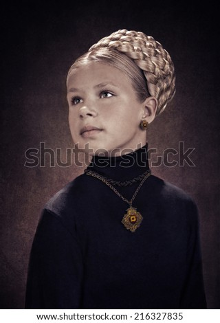 studio portrait of a young girl stylized as the dark age painting - stock photo