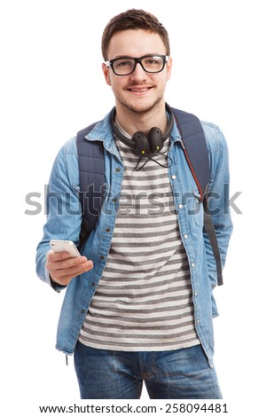 Studio portrait of a young handsome man. - stock photo