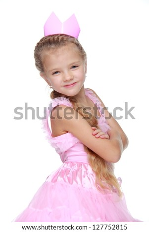 Studio portrait of adorable young model posing on camera